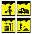 set construction yellow icons set vector image vector image
