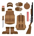 set hunting objects design elements vector image