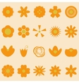 Set of orange flowers on bright background vector image