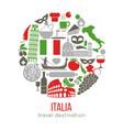 set of rome italy symbols italian vector image