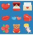 Set Of Vintage Happy Valentines Day icons vector image vector image