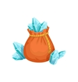 Small Sack Of Blue Crystal Gems Hidden Treasure vector image vector image
