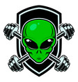 sport emblem with alien head and crossed barbells vector image vector image