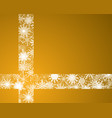 the snowflakes ribbon banner or gold background vector image