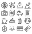 travel icons set on white background line style vector image vector image