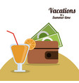 vacations summer time - wallet money cocktail vector image