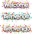 welcome paper banner with confetti