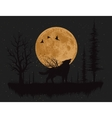 wolf howling at moon vector image vector image