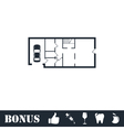 House plan icon flat vector image