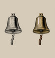 ship bell hand ink drawing vector image
