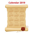 2019 calendar on scroll print template on vector image vector image
