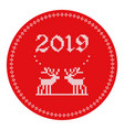 2019 knitted logo reindeers vector image vector image