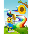 A bee at the hilltop with a rainbow in the sky vector image vector image
