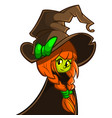 a cute witch in big hat vector image