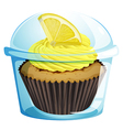 A disposable cup with a mocha-flavored cupcake vector image vector image