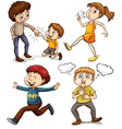 A group of kids vector image vector image