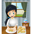 A happy mother preparing sandwiches vector image vector image