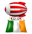 A stripe-colored balloon with the flag of Ireland vector image vector image