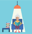 an old woman reading vector image