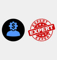 banker gear person icon and distress expert vector image vector image