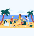 beach or coastal cleanup in trendy flat style vector image vector image