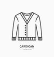 cardigan sweater flat line icon apparel store vector image vector image