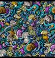 cartoon doodles under water life seamless pattern vector image vector image
