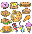 collection of food object various doodles vector image