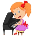 Cute little girl cartoon playing piano vector image