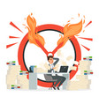 deadline concept office manager and chaos vector image vector image