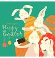 Easter bunnies take a selfie vector image vector image