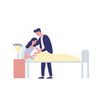 family with newborn in maternity ward flat vector image