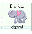 Flashcard alphabet E is for elephant vector image