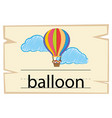 flashcard for word balloon vector image