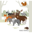 Forest animals composition Moose wild boar bear vector image