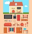 furniture set with home room interior vector image vector image