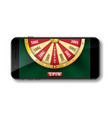 gold realistic wheel of fortune with smartphone vector image