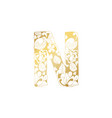 golden ornamental alphabet letter n font