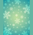 green background with white blurred snowflakes vector image