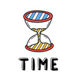 hand draw sand clock icon in doodle style for vector image vector image