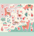 happy llamas sticker collection vector image vector image