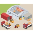 Isometric warehouse industrial scene vector image