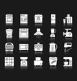 kitchen appliance white silhouette icon set vector image vector image