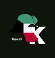 kuwait initial letter country with map and flag vector image
