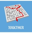 Labyrinth puzzle showing two alternative routes vector image