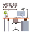 office workplace concept office desk vector image vector image