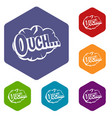ouch speech cloud icons set hexagon vector image vector image