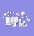 papercut spring flower 3d cutout woman background vector image vector image