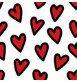 patterns with red hearts with black outline vector image