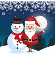 santa and snowman landscape snow moon design vector image vector image